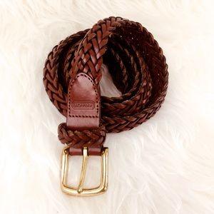 "38"" Coach 3863 Braided Leather Belt In British Tan"